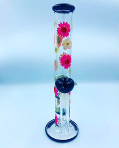 "12"" pink/white flower water pipe"