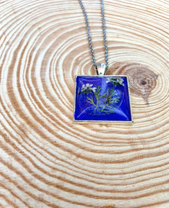 Purple square pressed flower pendant