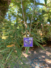 Load image into Gallery viewer, Purple square pressed flower pendant