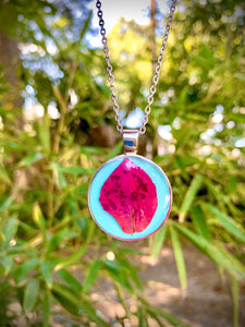 Turquoise silver pendant with pink pressed flower