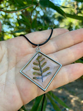 Load image into Gallery viewer, Silver diamond pendant with fern