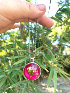 Hot pink pressed flower pendant