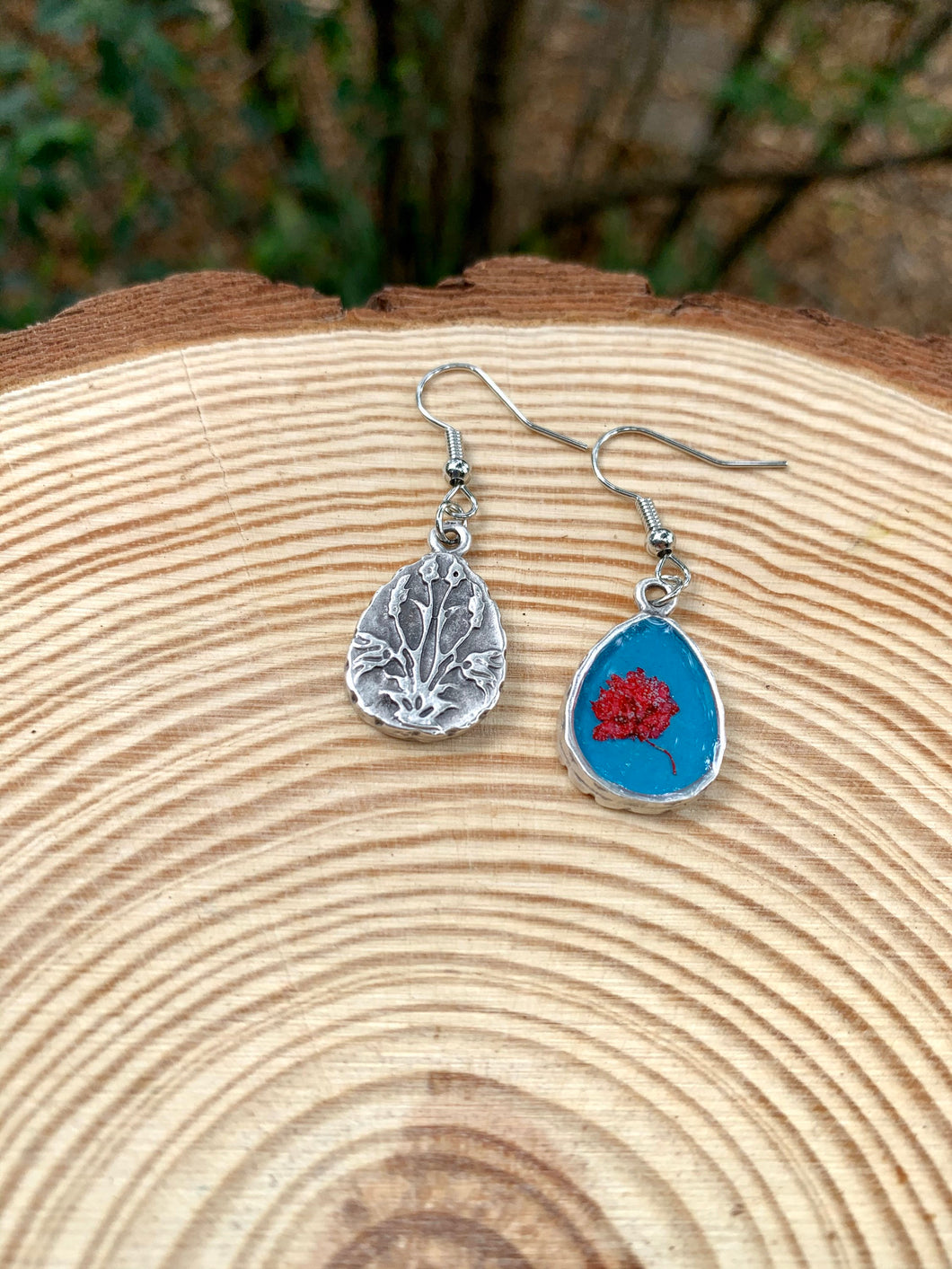 Turquoise and silver teardrop earrings with pressed flowers