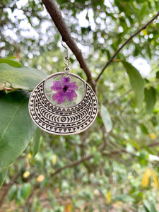 Round silver tribal pressed flower earrings