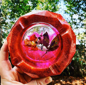 Pressed flower resin ashtray