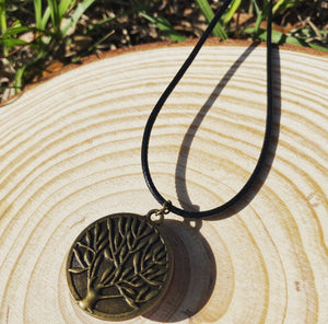Pressed flower pendant with tree of life