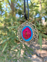 Load image into Gallery viewer, Gold and turquoise pressed flower pendant