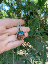 Load image into Gallery viewer, Silver and turquoise pressed flower pendant