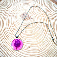 Load image into Gallery viewer, Silver and pink pendant with pressed flower petal