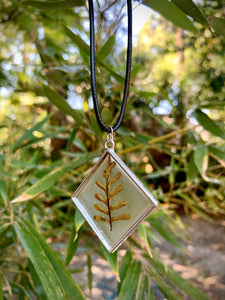 Silver diamond pendant with fern