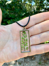 Load image into Gallery viewer, Gold rectangle pressed greenery pendant