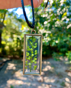 Gold rectangle pressed greenery pendant