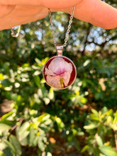 Load image into Gallery viewer, Round pink pressed flower pendant
