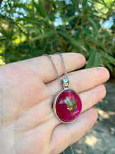 Load image into Gallery viewer, Hot pink pressed flower pendant