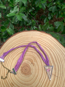 Triangular pressed flower silver and pink ribbon choker