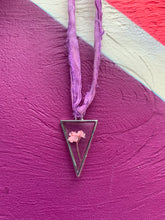 Load image into Gallery viewer, Triangular pressed flower silver and pink ribbon choker