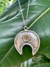 Load image into Gallery viewer, Hammered silver and yellow pendant with baby blue pressed flower