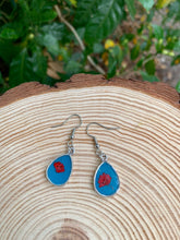 Load image into Gallery viewer, Turquoise and silver teardrop earrings with pressed flowers