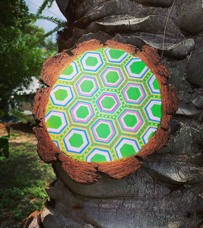 Painted geometric wood slice wall hanging