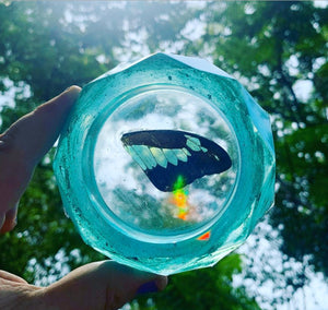 Blue green resin ashtray with real butterfly wing
