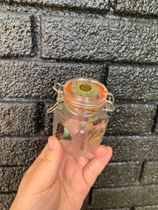 Mini glass stash jar with real butterfly wings and pressed flower