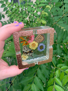 Gold glitter ashtray with real butterfly wings and pressed flowers