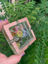 Load image into Gallery viewer, Gold glitter ashtray with real butterfly wings and pressed flowers