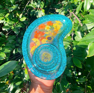 Glittery resin rolling tray
