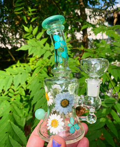 "6"" green glass water pipe with pressed flowers"