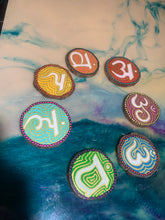 Load image into Gallery viewer, Hand painted chakra hanging wood slice set