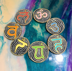 Hand painted chakra hanging wood slice set