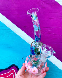 "9"" floral glass water pipe"
