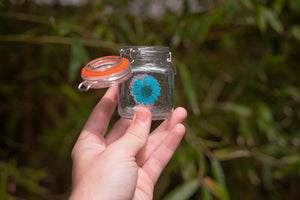 Mini stash jar with real pressed flowers