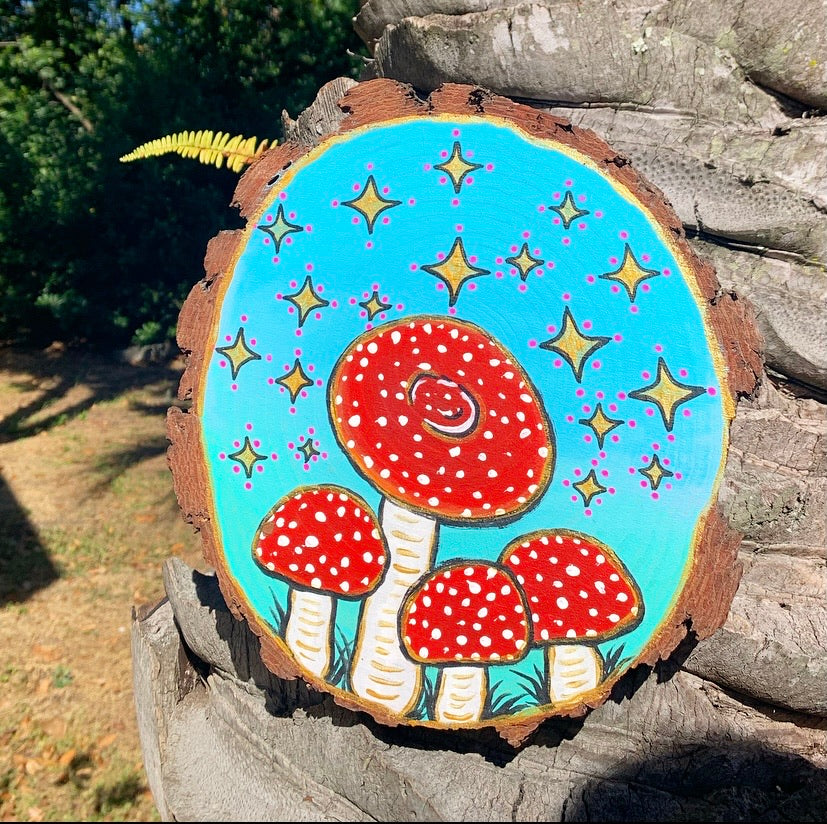 Natural wood slice wall hanging with acrylic painting