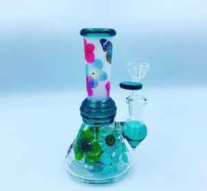 "6"" butterfly and floral water pipe"