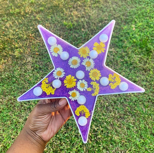 Star light up wall decor with real pressed flowers