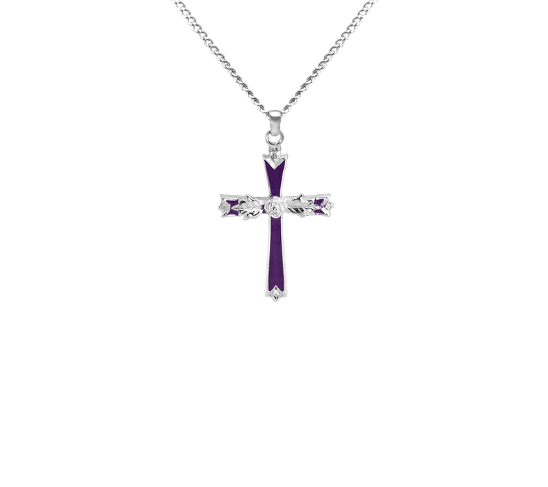 Large Cross with Rose Pendant
