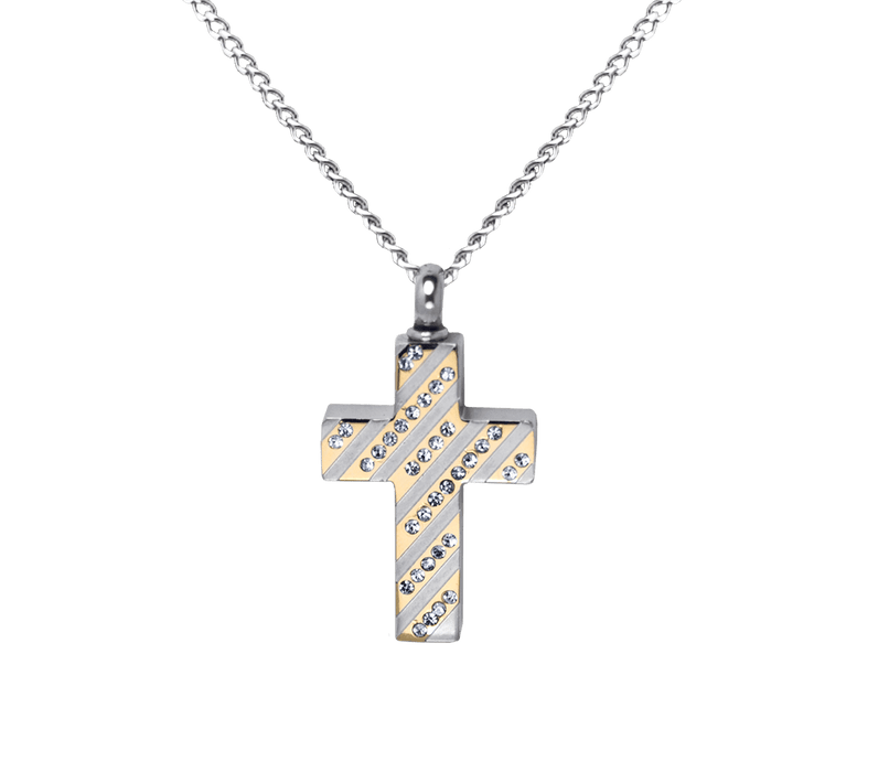 Diagonal Jeweled Cross Pendant
