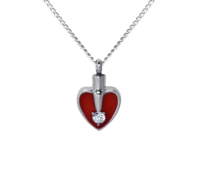 Heart Red and Silver Pendant