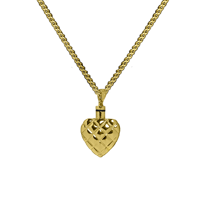 Brass Quilted Heart Pendant