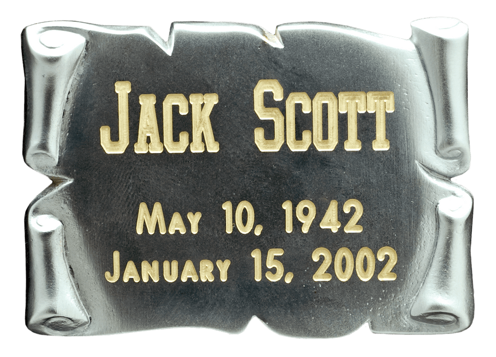 Square Silver Scroll Nameplate