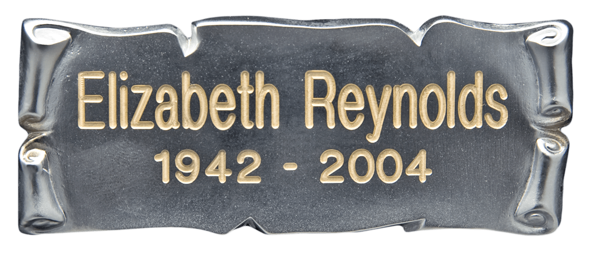 Horizontal Silver Scroll Nameplate