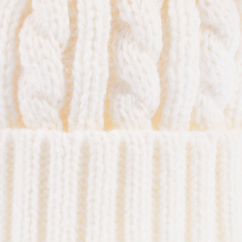 Cable Pom Pom Hat Winter White/Natural