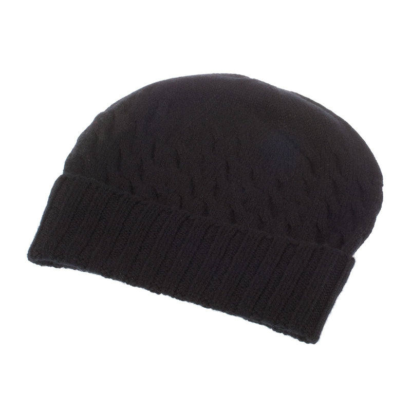 Ron Cowan Women's Cashmere Warp Cable 2-Ply Knitted Beanie Hat 7-Black
