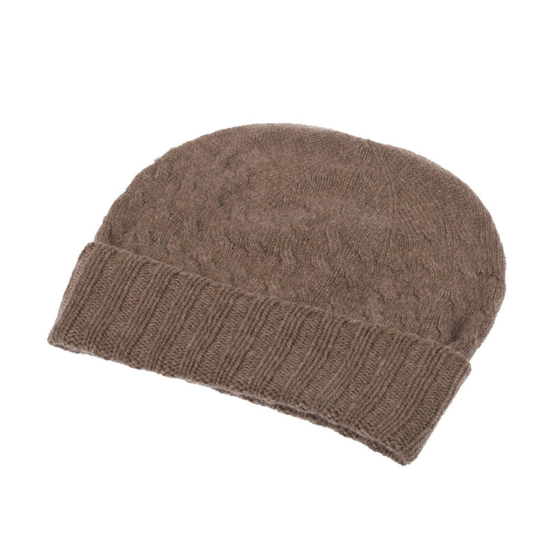 Ron Cowan Women's Cashmere Warp Cable 2-Ply Knitted Beanie Hat 12-Mocha Brown