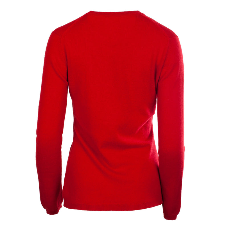 Hawick Knitwear Women's Knitted 100% Cashmere V-Neck Jumper Ruby
