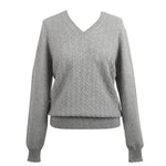 Pullover Ls Vn With Lace Pattern Felt Grey
