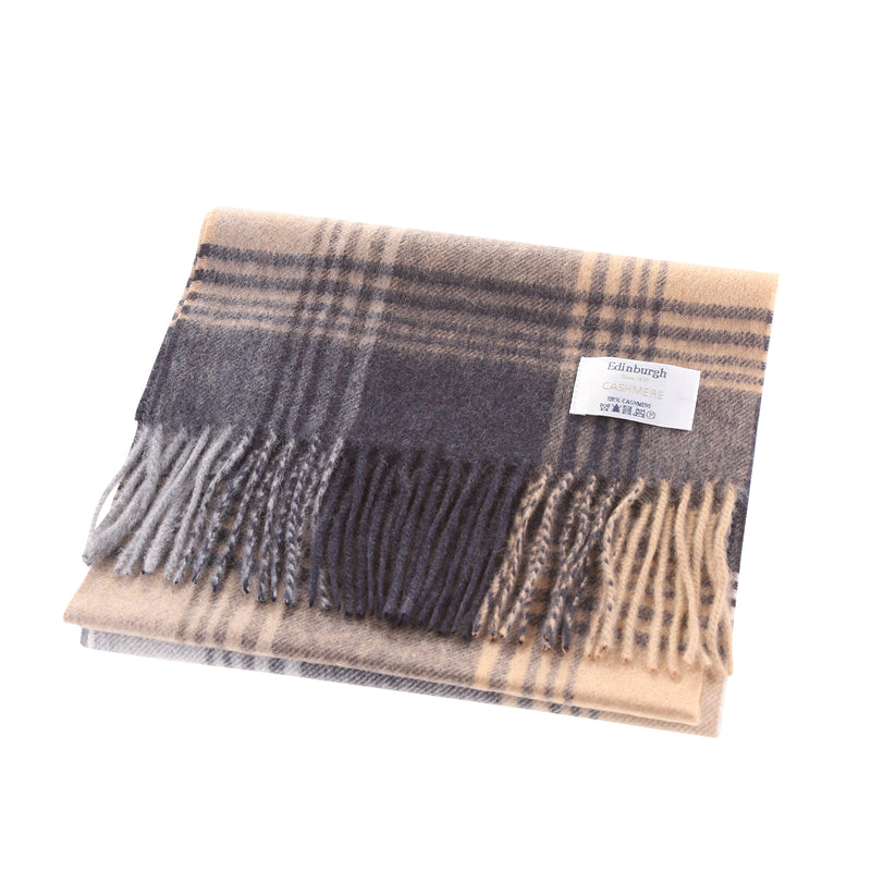 Edinburgh 100% Cashmere Unisex Scottish Tartan Multicolor Scarf Broken Check - Navy/Camel
