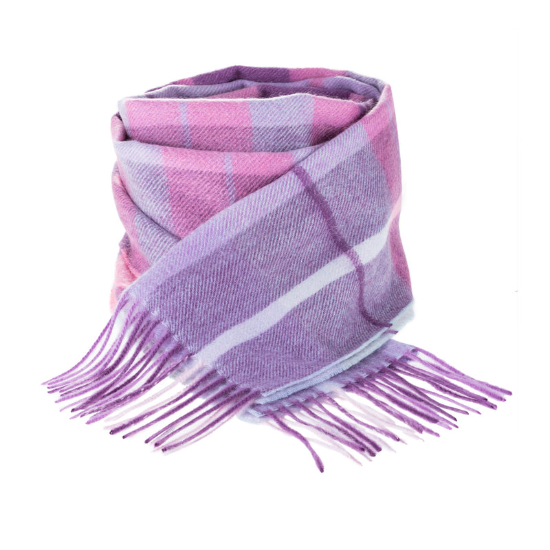 Edinburgh 100% Cashmere Unisex Scottish Tartan Multicolor Scarf Painters Check - Aqua/Pink/Lilac