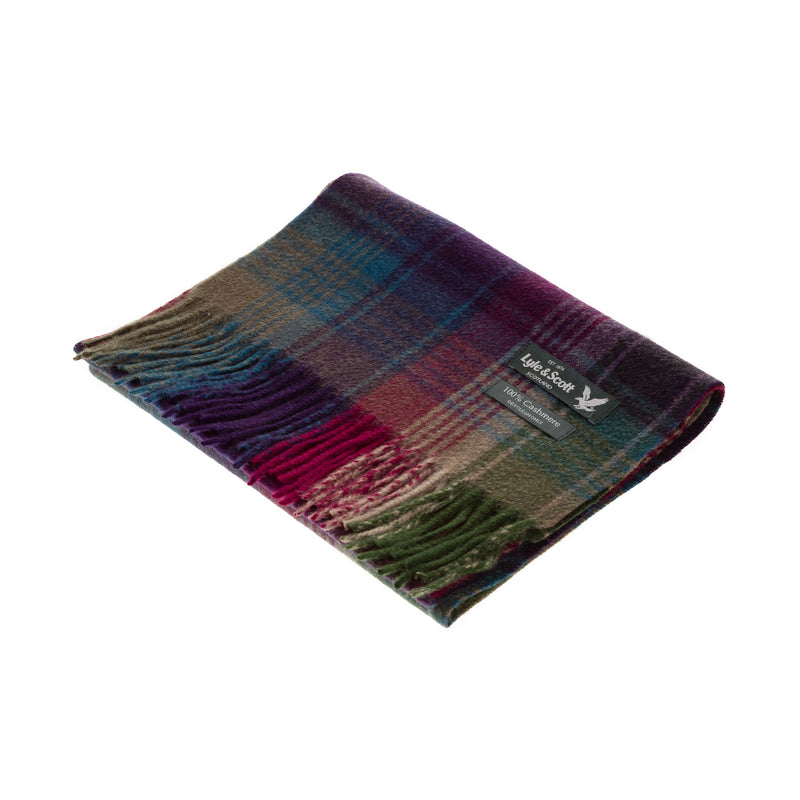 Lyle & Scott 100% Cashmere Scarf Rptd Edge Stripe Check - Burgundy/Green